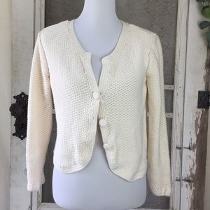 J. Jill Knit Cream Button Up Cardigan Petite S